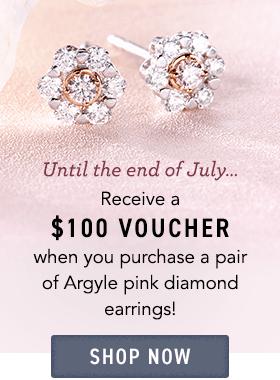$100 voucher with argyle pink studs