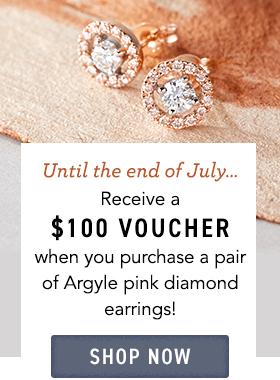 $100 voucher with argyle pink studs 2