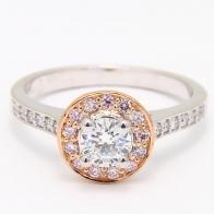 Ren Argyle Pink and White Diamond Halo Engagement Ring