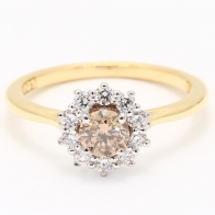 Champagne Snowflake Champagne and White Diamond Halo Engagement Ring