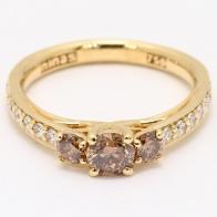 Paragon Three Stone Champagne Diamond Engagement Ring