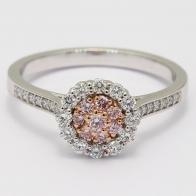 Fiore Argyle Pink Diamond Halo Ring