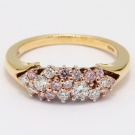 Aquila Argyle Pink and White Diamond Cluster Ring