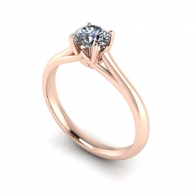 18K Diamond Engagement Ring with Rose Gold