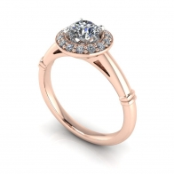 18K Rose Gold Diamond Engagement Ring with Rose Gold