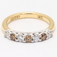 Latte Champagne and White Diamond Ring