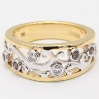 Esplanade Champagne Diamond Dress Ring with Yellow  White Gold