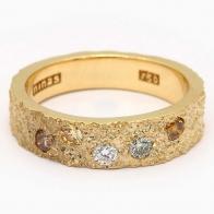 Geode coloured diamond textured ring