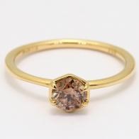 Honey champagne diamond hexagon bezel stackable ring