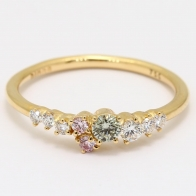 Spectra green and Argyle pink diamond cluster ring
