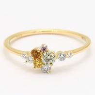 Festiva coloured diamond cluster ring