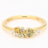 Carousel coloured diamond cluster ring