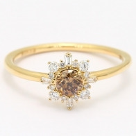 Glory champagne and white diamond halo engagement ring