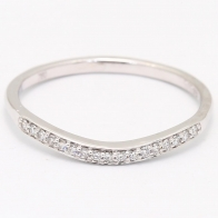 First Sight White Diamond Curved Wedding Band