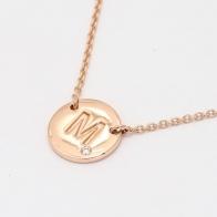 Signature White Diamond M Initial Necklace
