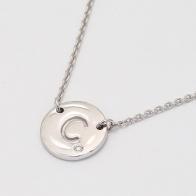 Signature White Diamond C Initial Necklace