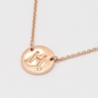 Signature White Diamond H Initial Necklace