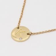 Signature White Diamond K Initial Necklace