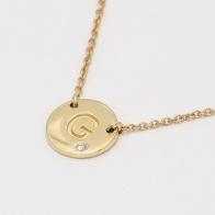 Signature White Diamond G Initial Necklace