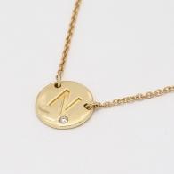 Signature White Diamond N Initial Necklace