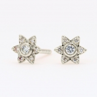 Twinkle white diamond halo stud earrings