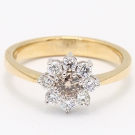 Precious Champagne Diamond Flower Ring with Yellow  White Gold