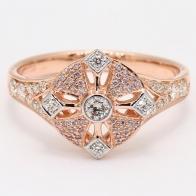 Antoinette Argyle PInk and White Diamond Cross Ring