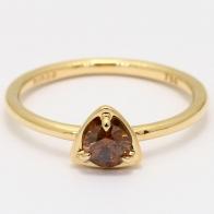 Triad champagne diamond triangle bezel ring