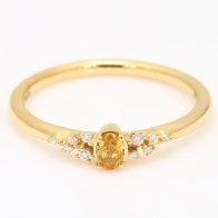 Laurel oval cut orange and white diamond stackable ring