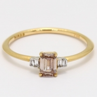 Millie emerald cut champagne and white diamond ring