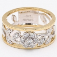 Rowan White Diamond Filigree Floral Dress Ring