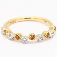 Amberly orange and white diamond bezel ring
