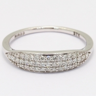 Hex white diamond stackable ring