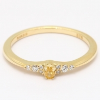 Charlotte oval cut fancy yellow diamond stackable ring