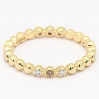 Strand champagne and white diamond stackable ring