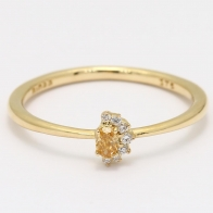 Eclipse yellow oval cut and white diamond stackable ring