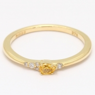 Meteora pear cut yellow and white diamond stackable ring