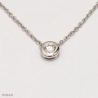 0.10 Carat Bezel Set White Diamond Lumiere Necklace