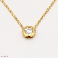 0.20 Carat Bezel Set White Diamond Lumiere Necklace