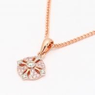 Antoinette Argyle Pink and White Diamond Petite Cross Pendant
