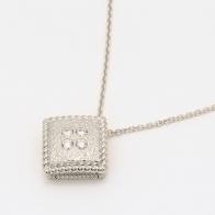 Tenille white diamond square necklace