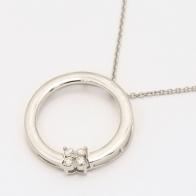 Flutter white diamond circle necklace