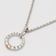 Celeste Argyle Pink and White Diamond Circle Necklace