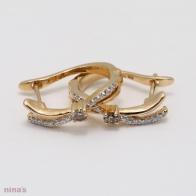 Kiara Champagne and White Diamond Huggie Earrings
