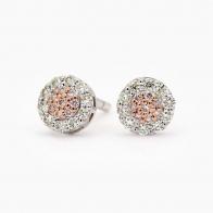 Geranium Argyle Pink and White Diamond Cluster Stud Earrings