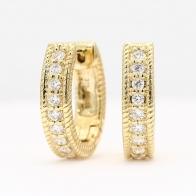 Indiana white diamond huggie earrings