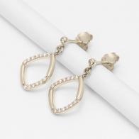 Pride white diamond geometric earrings