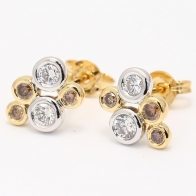 Champagne Bubbles Champagne and White Diamond Stud Earrings