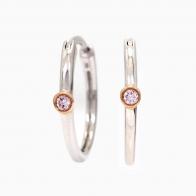 Noelle Argyle Pink Diamond Hoop Earrings