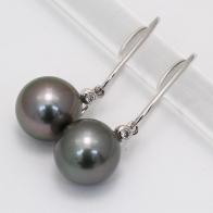 Lux Black Tahitian Pearl and White Diamond Earrings